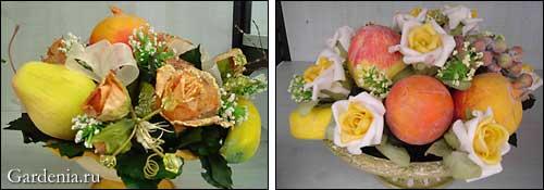 композиции из цветов и фруктов