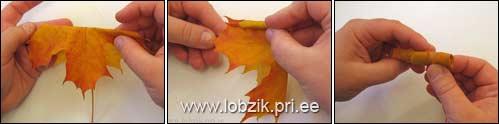 Розочки из листьев деревьев
